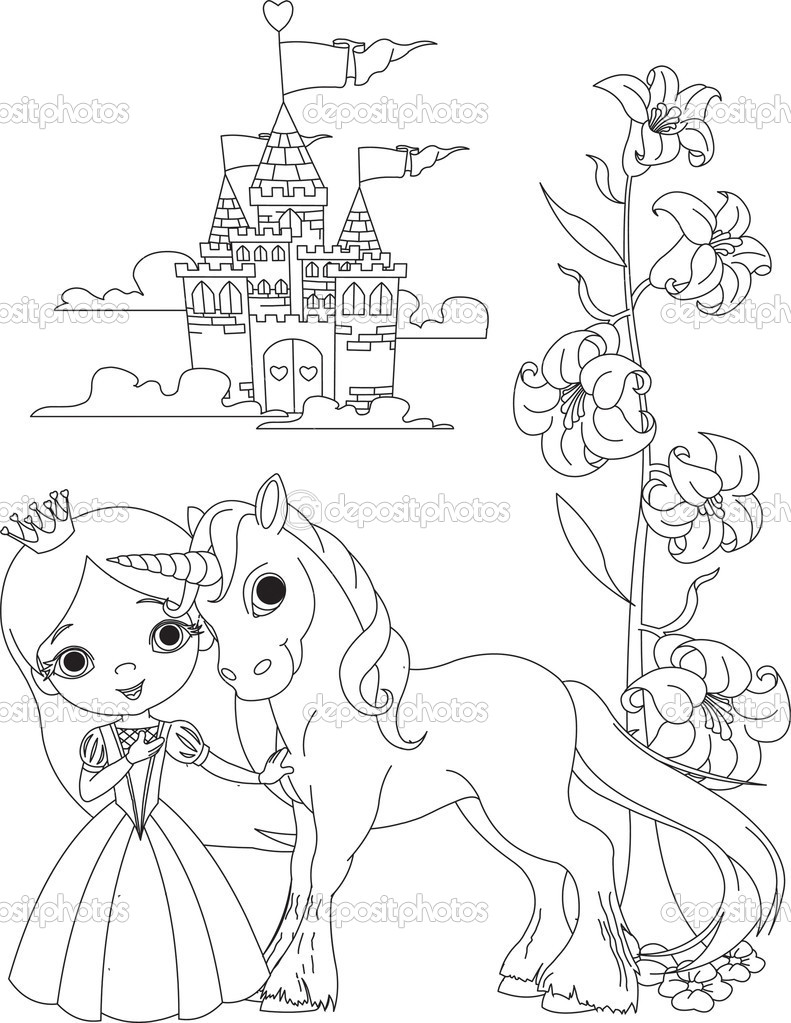 Magical unicorn coloring pages - Beautiful Princess And Unicorn Coloring Page Stock Illustration