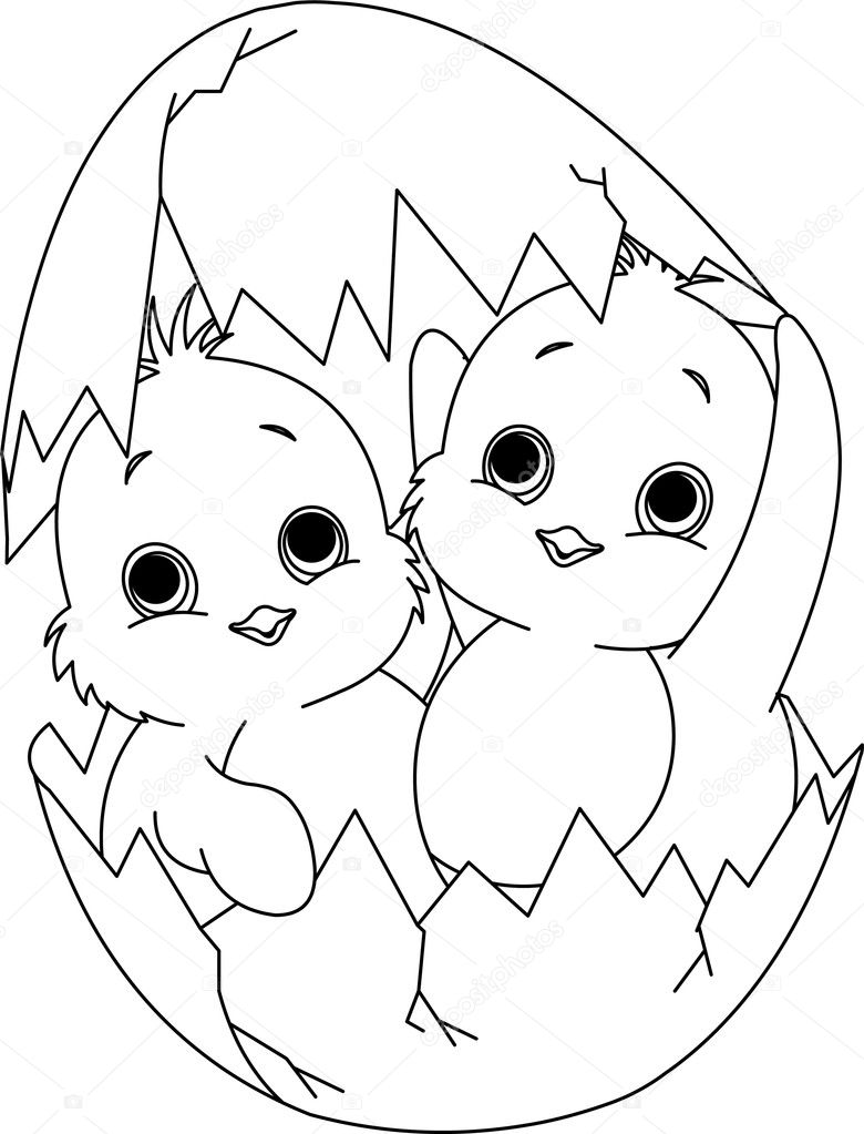 two easter chickens in the egg coloring page u2014 stock vector