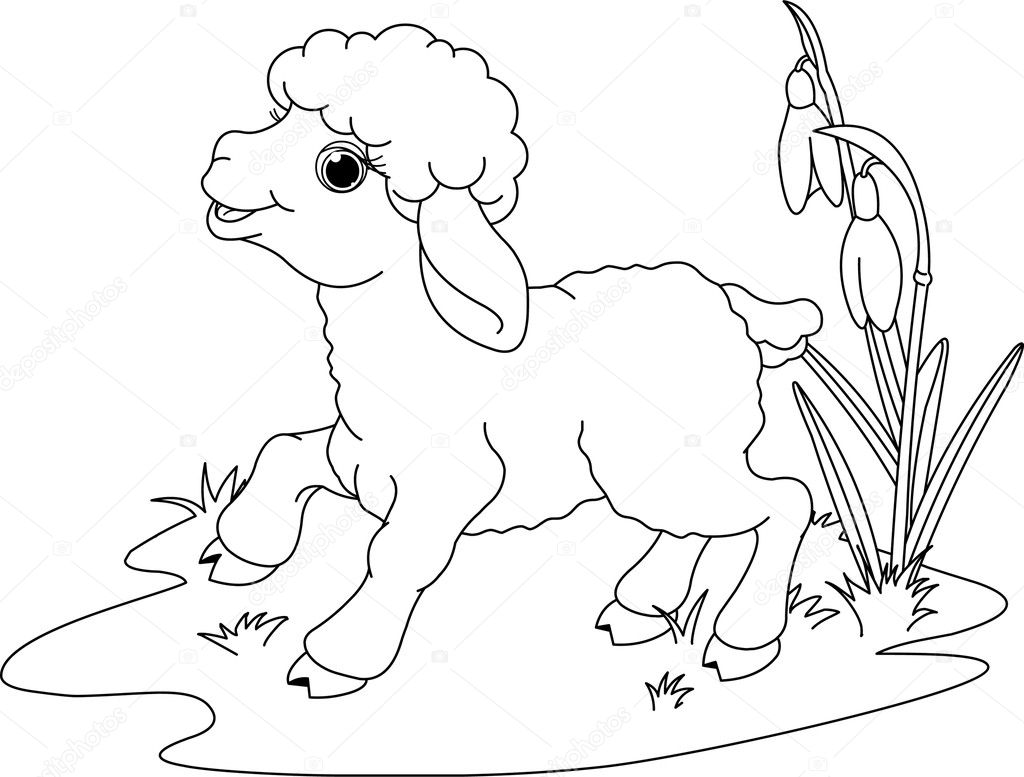 Easter lamb. Coloring page — Stock Vector © Dazdraperma #5248780