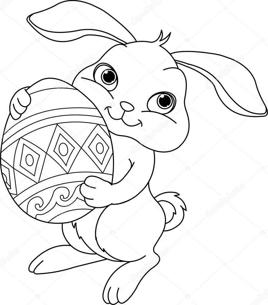 Coniglietto Di Pasqua Pagina Da Colorare Vettoriali Stock