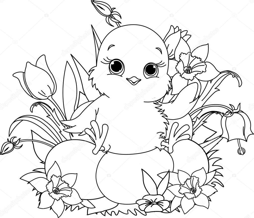 Happy Easter chick Coloring page Stock Vector Dazdraperma 5248792