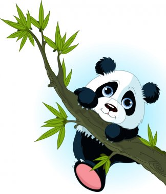 Very cute Giant panda climbing tree stock vector
