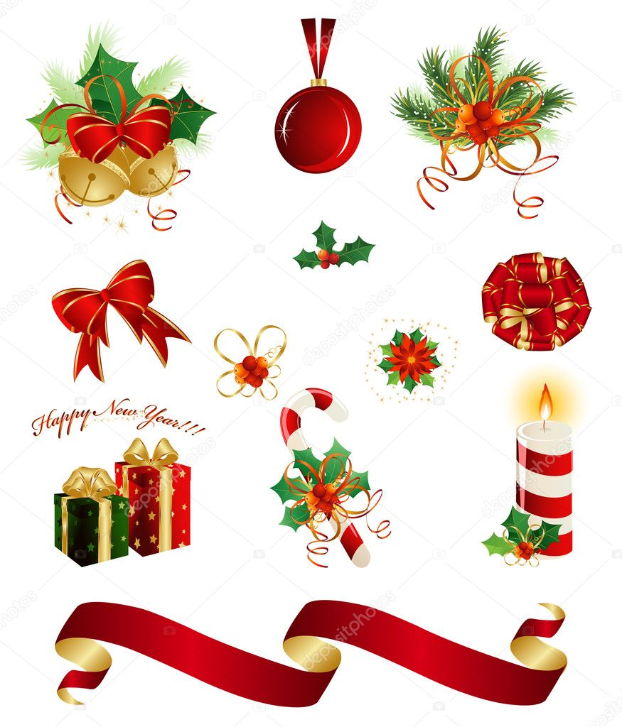 Set of christmas design elements stock vector kapelka for Dibujos adornos navidad