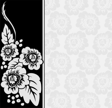 Gray flowers on a black and white background