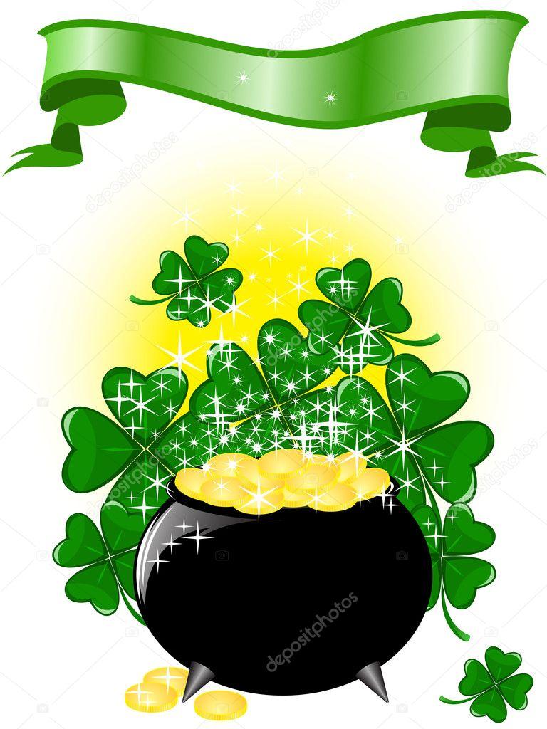 pot of gold and a ribbon u2014 stock vector needle 5139505