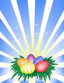 Velikonoční vejce na lesklé pozadí