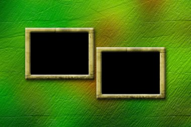 Grunge frameworks for invitation on the vintage green abstract b