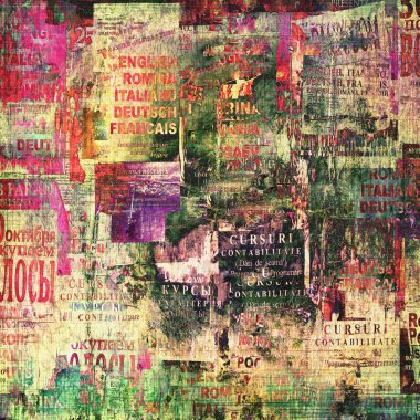 Grunge abstract background with old torn posters stock vector