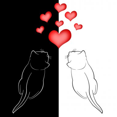 Two in love cats and red hearts on white background