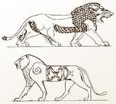Fotografia leoni di animali ornamento araldico vecchi isolato