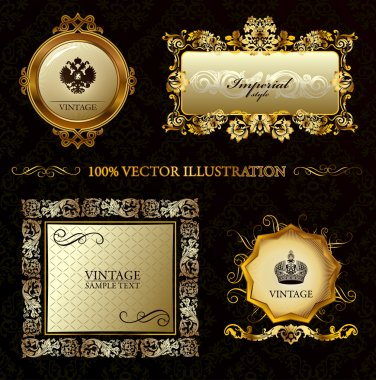 Glamour vintage gold frame decorative background