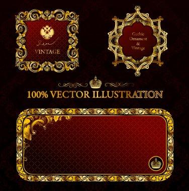 Glamour vintage gold frame decorative red black