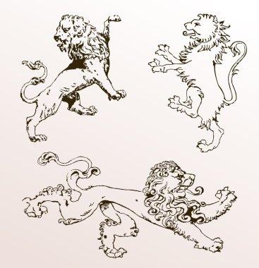 Heraldic animals lions old isolated