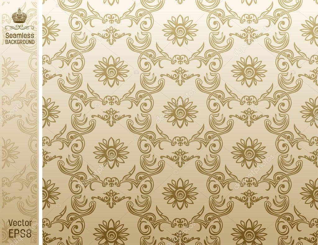 Behang Met Patroon : Naadloze bloem behang patroon beige u stockvector extezy