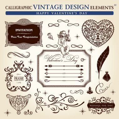 Calligraphic elements vintage ornament set. Happy valentine day
