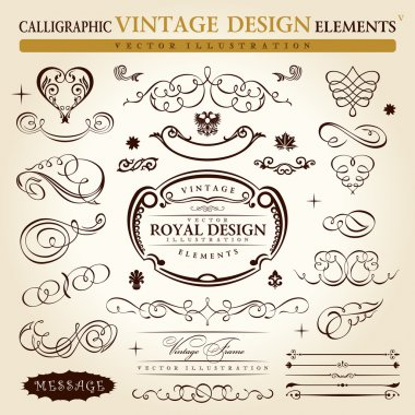 Calligraphic elements vintage ornament set. Vector frame ornamen