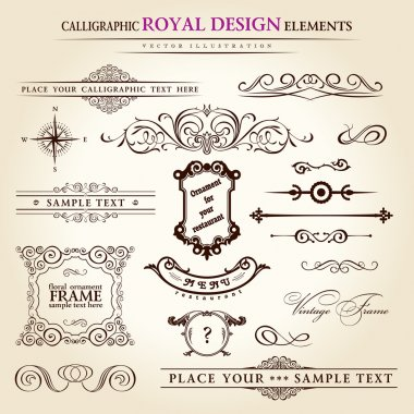 Calligraphic elements vintage set