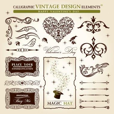 Calligraphic elements vintage vector set. Happy valentine day