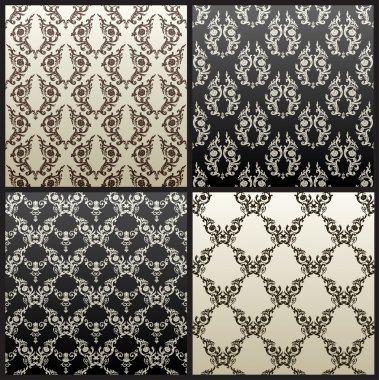 Seamless vintage vector background wallpaper black
