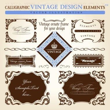 Vintage frame ornament set. Vector element decor