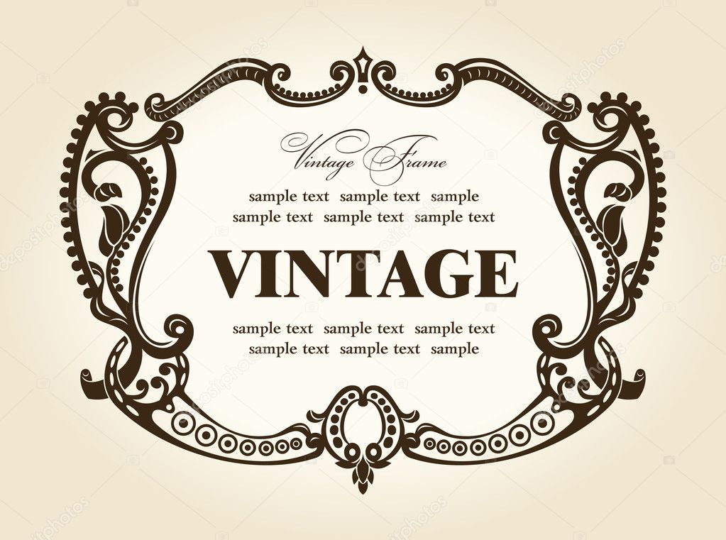 Adorno Vintage retro marco rococó — Archivo Imágenes Vectoriales ...