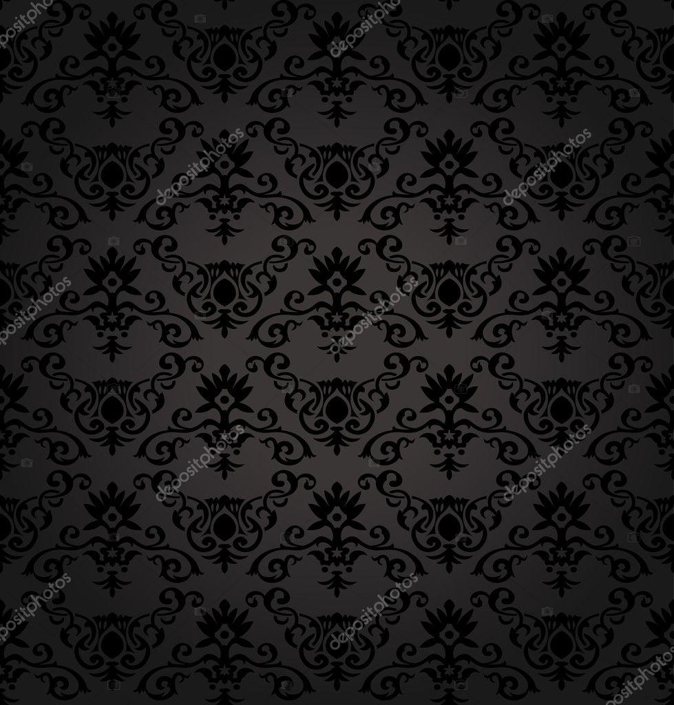 Black Seamless floral Pattern