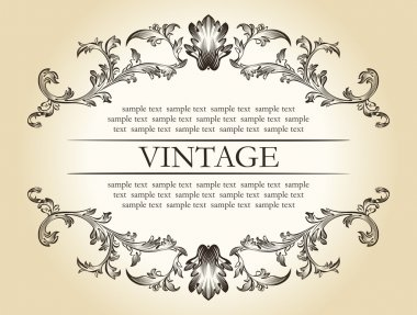 Vector vintage royal retro frame ornament decor text