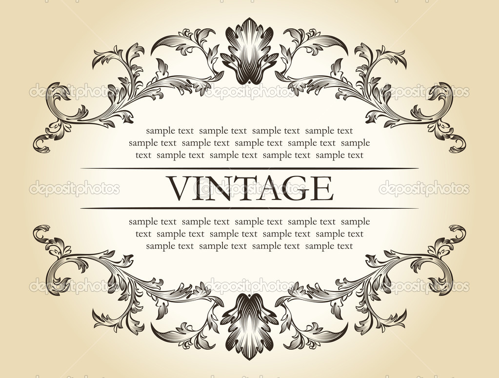 Vector vintage royal retro frame ornament decor text
