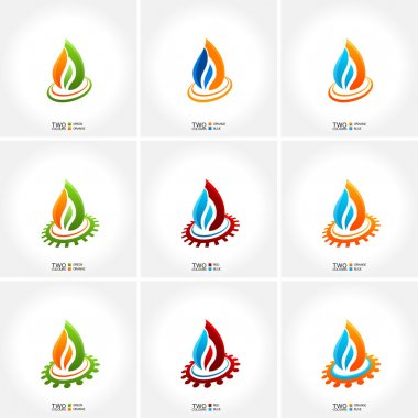 Vector business emblem fire water set icon drop clip art vector