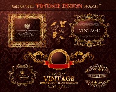 Vintage gold frames ornament set. Vector element decor