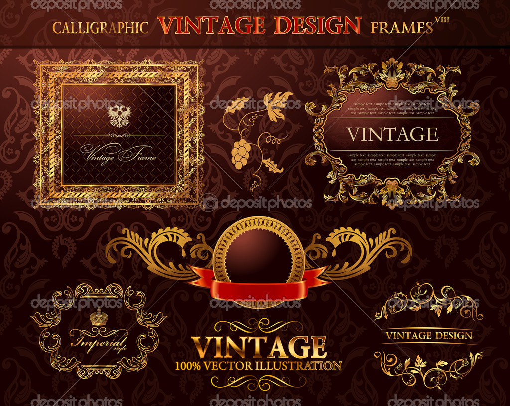 Vintage gold frames ornament set. Vector element decor