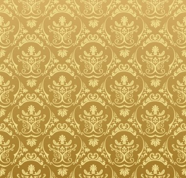 Seamless wallpaper background floral vintage gold