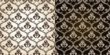 Seamless vintage backgrounds black brown baroque Pattern