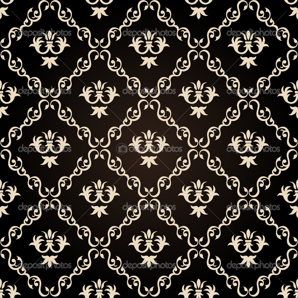 Seamless vintage wallpaper background floral black stock - Papel paredes vintage ...