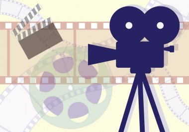 Movie Camera, clapboard and films collage. Vector EPS illustration. stock vector