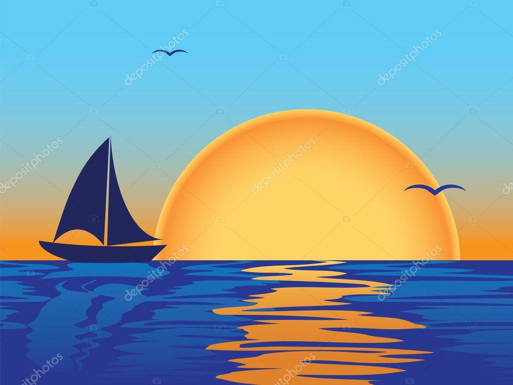 как нарисовать море лодку и закат