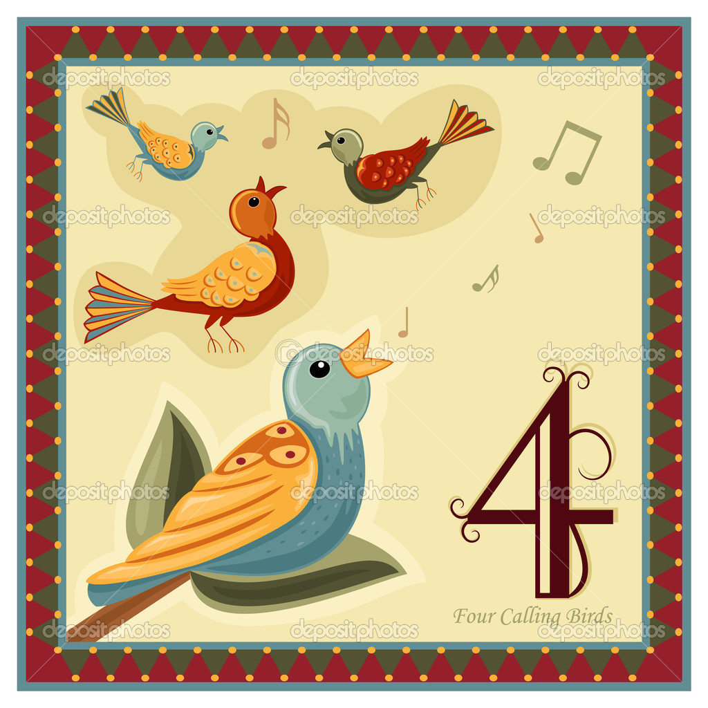 Calling Birds 12 Days Christmas >> The 12 Days of Christmas — Stock Vector © Eireann #4121440