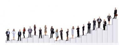 Business team and diagram. Isolated over white background