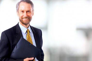 Smiling face of senior man stock vector