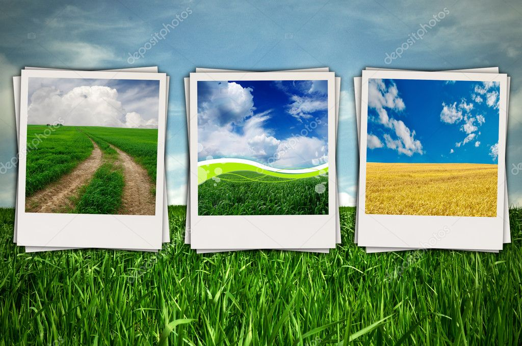 Beautiful Sceneries in Photos on Green Field Background