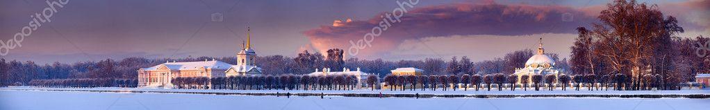 Winter panorama of Moscow estate Kuskovo