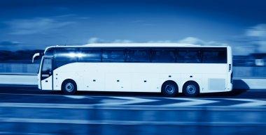 Bus in motion, monohromatic
