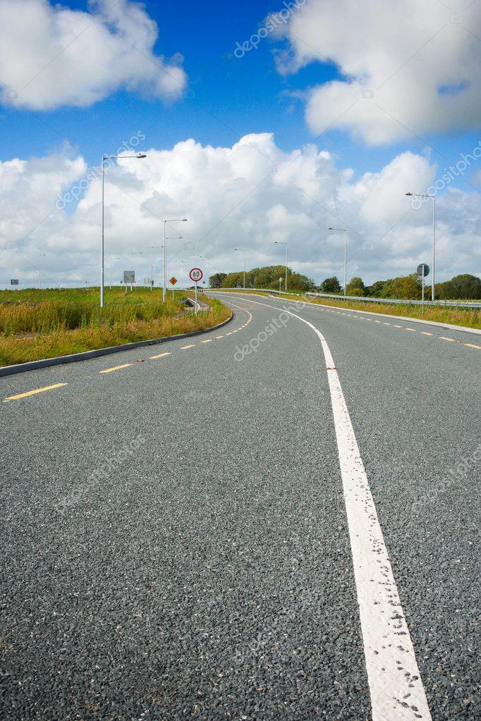 Motorway with road markings