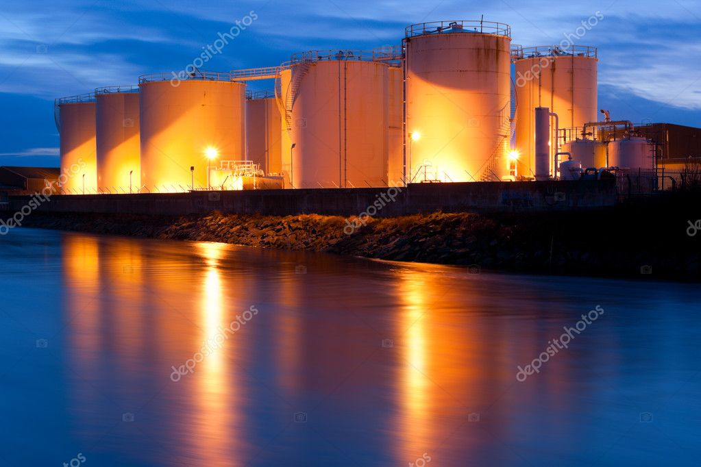 Fuel Tanks illuminated at night