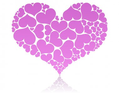 Big pink heart shape comprised by smaller ones. stock vector