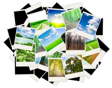 The big collection of old photos on white stock vector