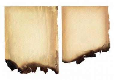 Burnt paper edge background on white