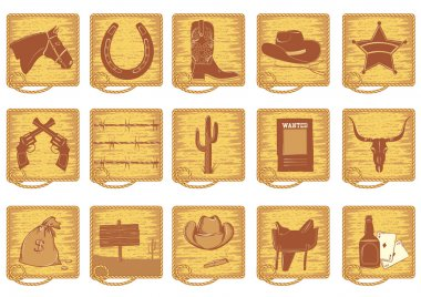 Vector cowboy symbols for design