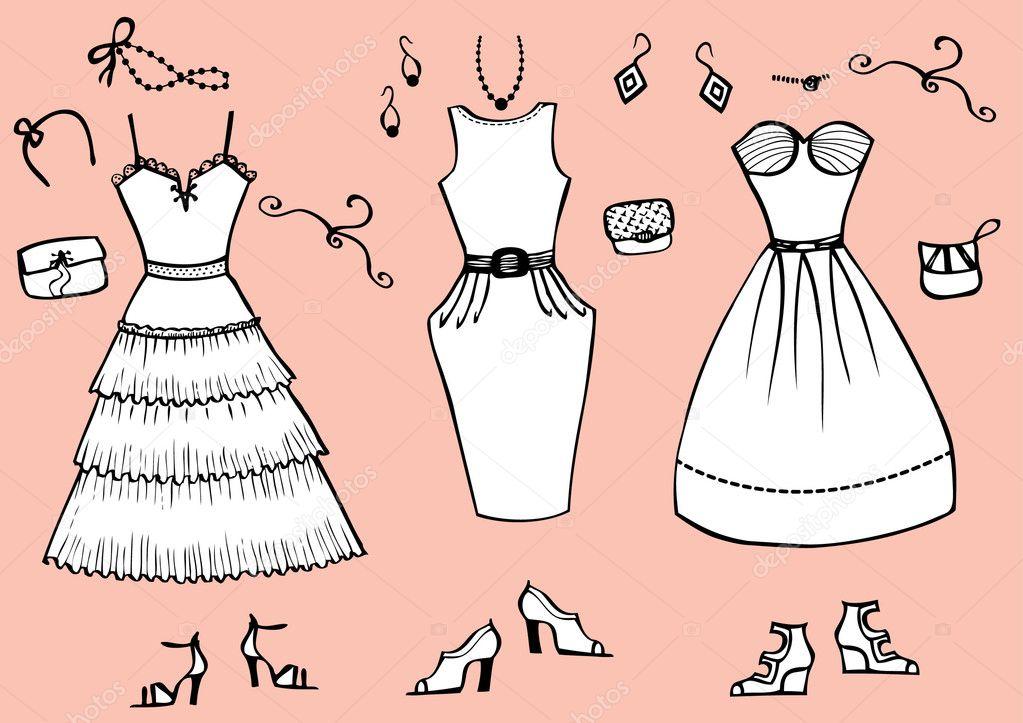 292b4a7fcb0e Moda abiti e accessori per vestiti grafico woman.vector– illustrazione stock