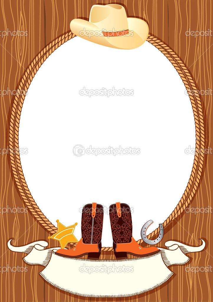 Cowboy poster background for design with cowboy elements ...